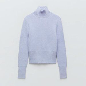 Zara lavender soft feel knit mock neck sweater L